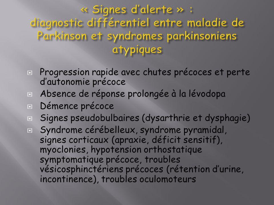 « Signes d'alerte » : diagnostic différentiel entre maladie de Parkinson et syndromes parkinsoniens atypiques