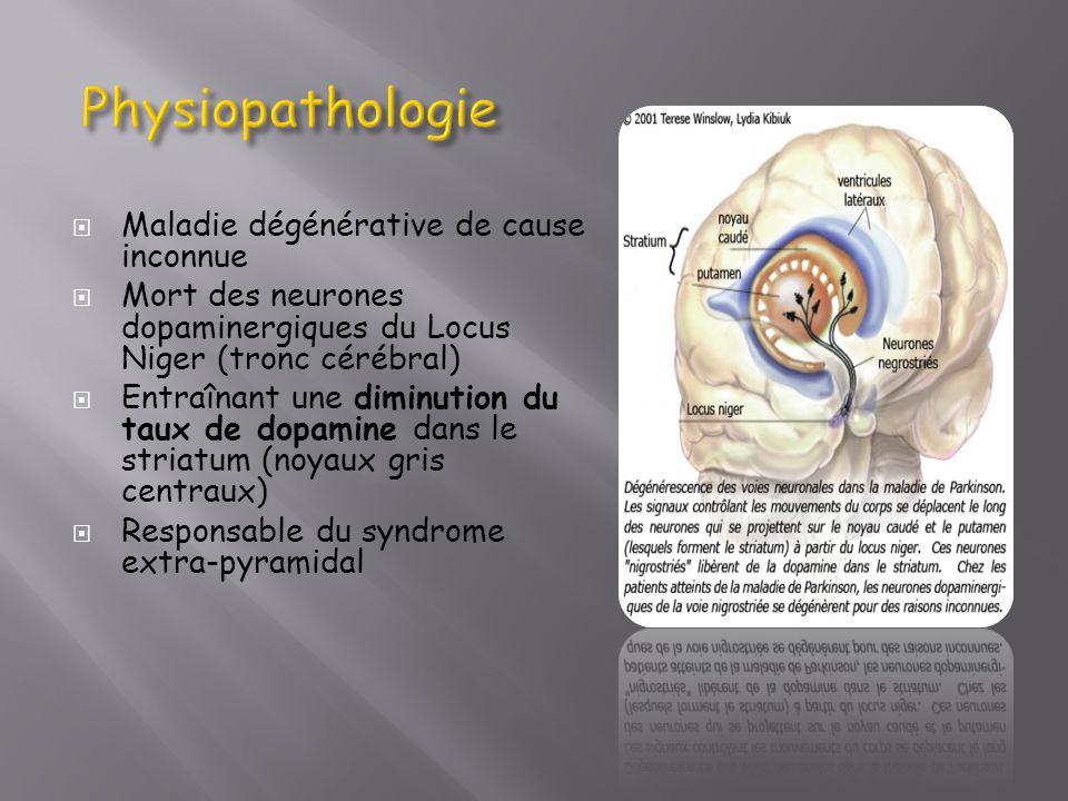 Physiopathologie Maladie dégénérative de cause inconnue
