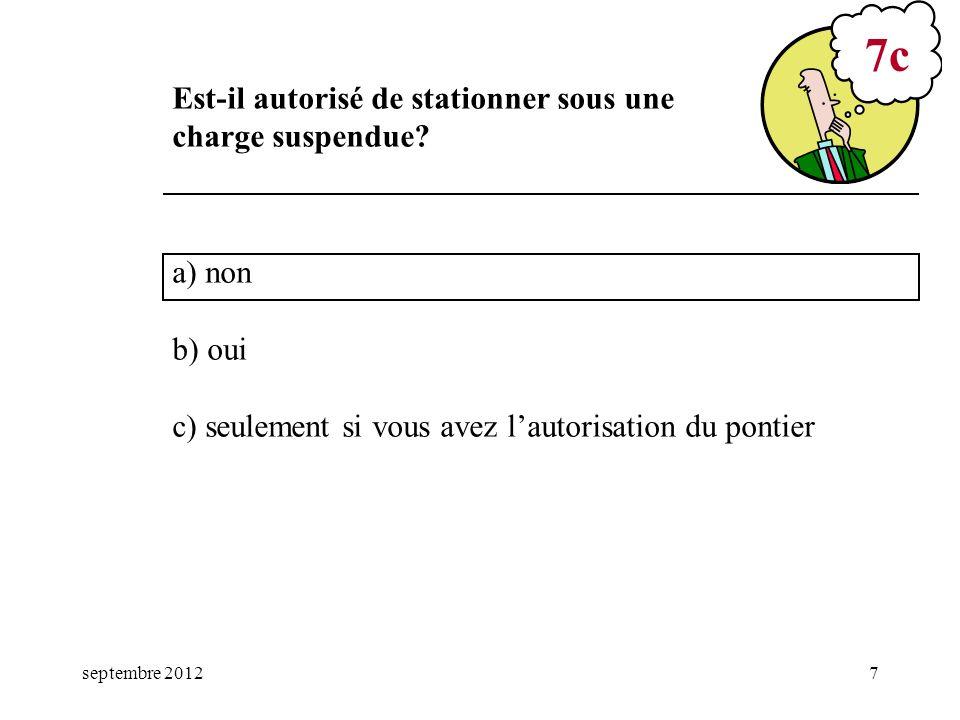 7c Est-il autorisé de stationner sous une charge suspendue a) non