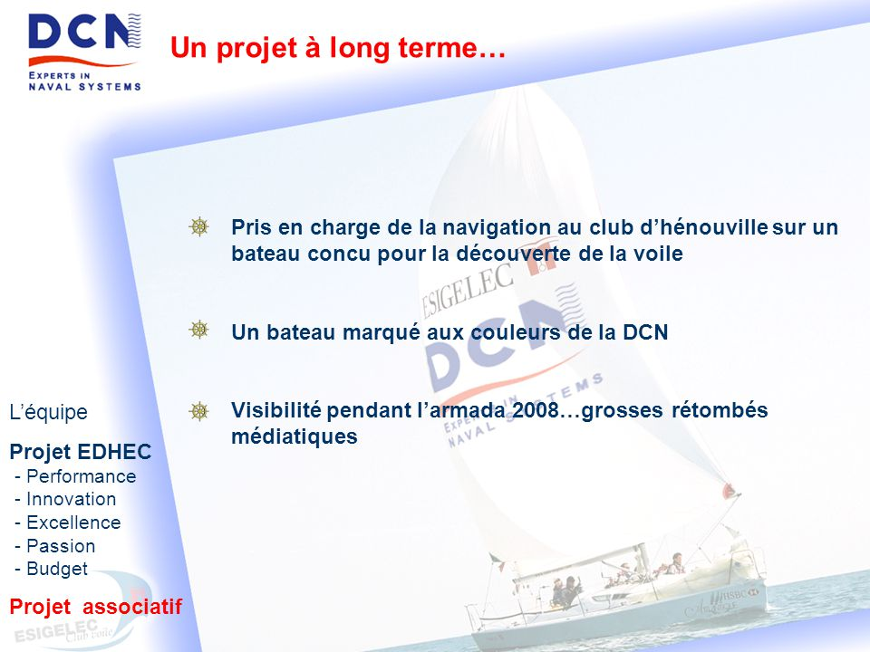 Un projet à long terme… Pris en charge de la navigation au club d'hénouville sur un bateau concu pour la découverte de la voile.