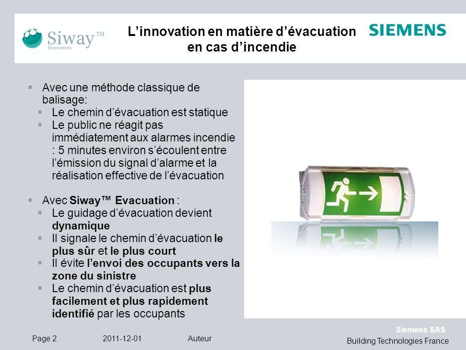 L'innovation en matière d'évacuation