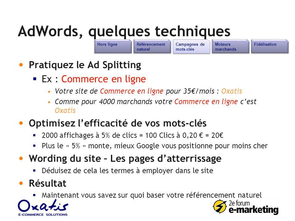 AdWords, quelques techniques