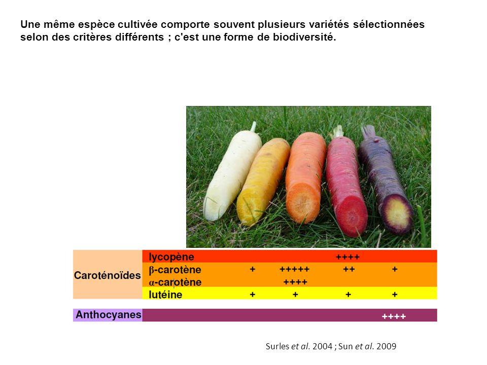 Une même espèce cultivée comporte souvent plusieurs variétés sélectionnées selon des critères différents ; c est une forme de biodiversité.