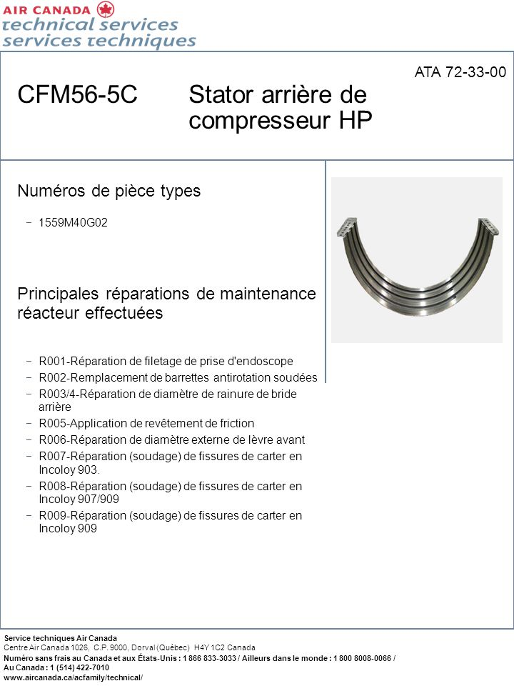 CFM56-5C Stator arrière de compresseur HP
