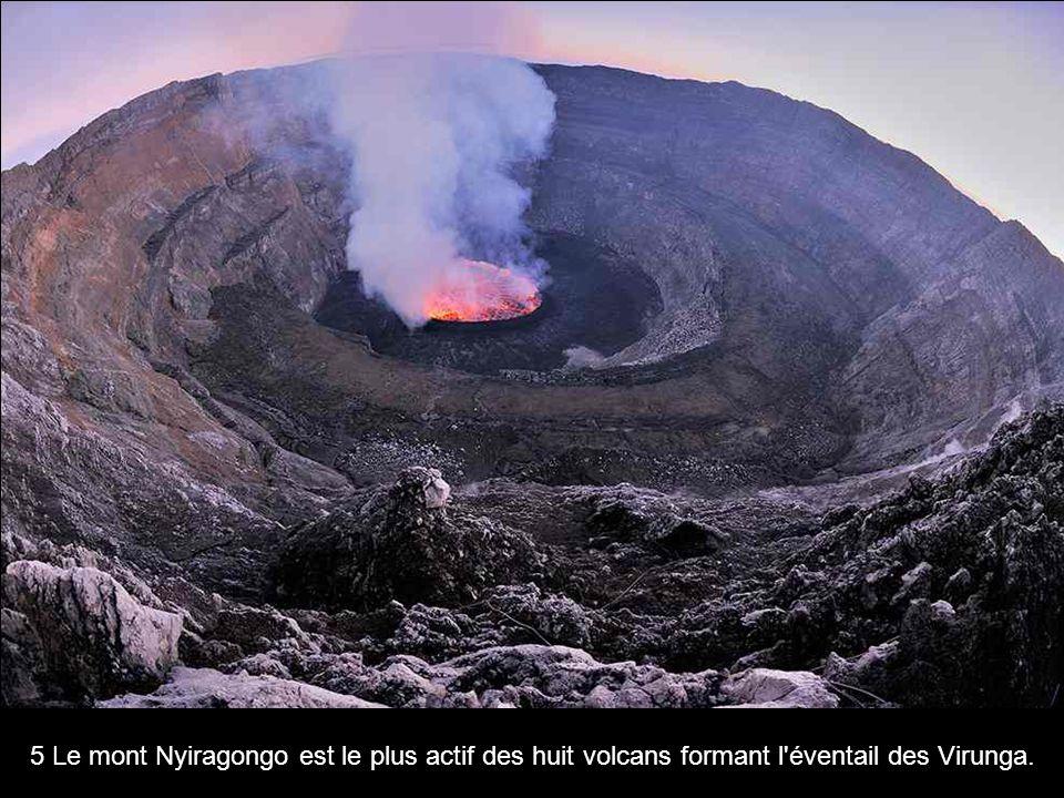5 Le mont Nyiragongo est le plus actif des huit volcans formant l éventail des Virunga.