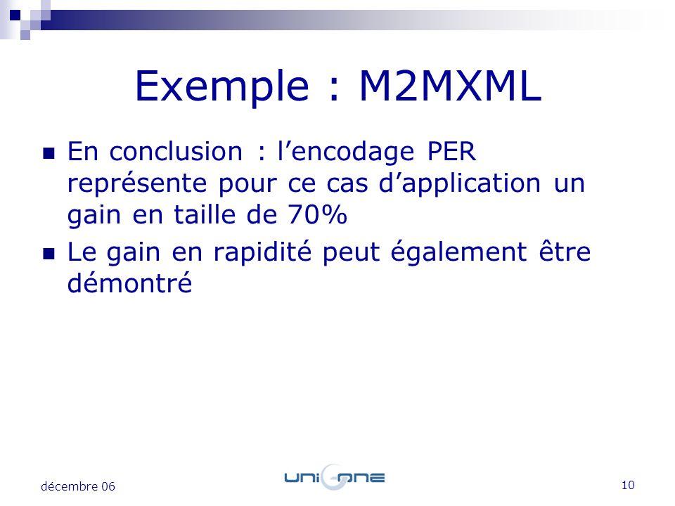 Exemple : M2MXML En conclusion : l'encodage PER représente pour ce cas d'application un gain en taille de 70%