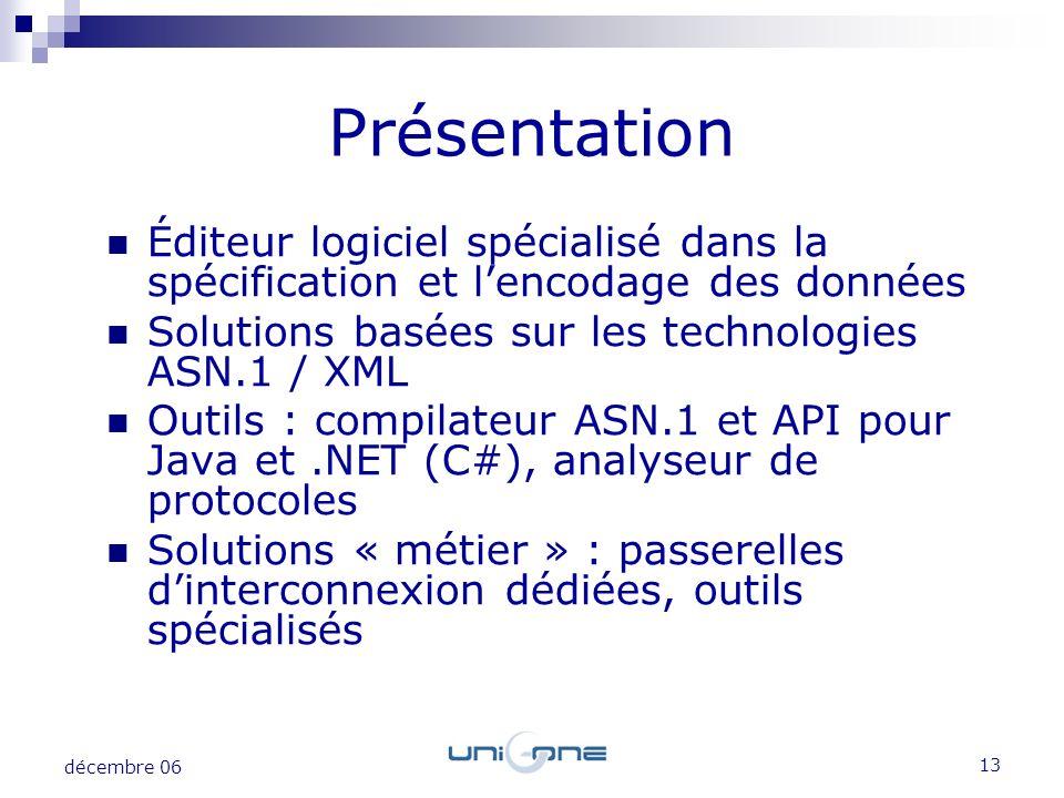 Présentation Éditeur logiciel spécialisé dans la spécification et l'encodage des données. Solutions basées sur les technologies ASN.1 / XML.