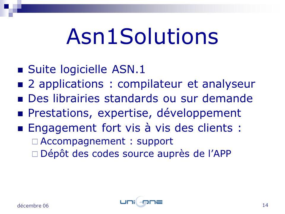 Asn1Solutions Suite logicielle ASN.1