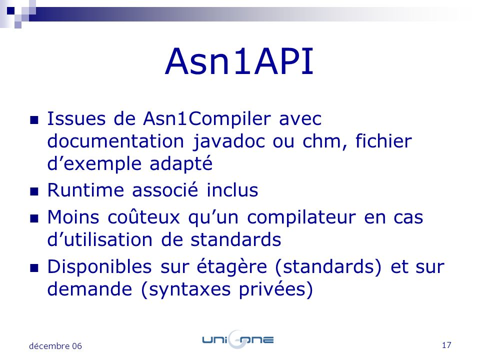 Asn1API Issues de Asn1Compiler avec documentation javadoc ou chm, fichier d'exemple adapté. Runtime associé inclus.