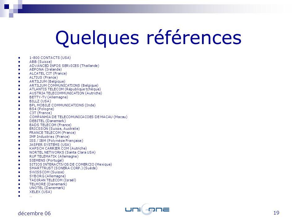 Quelques références décembre 06 1-800 CONTACTS (USA) ABB (Suisse)