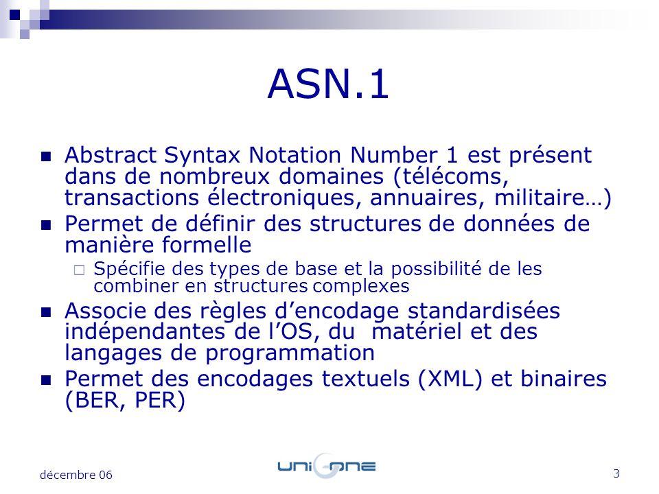 ASN.1 Abstract Syntax Notation Number 1 est présent dans de nombreux domaines (télécoms, transactions électroniques, annuaires, militaire…)