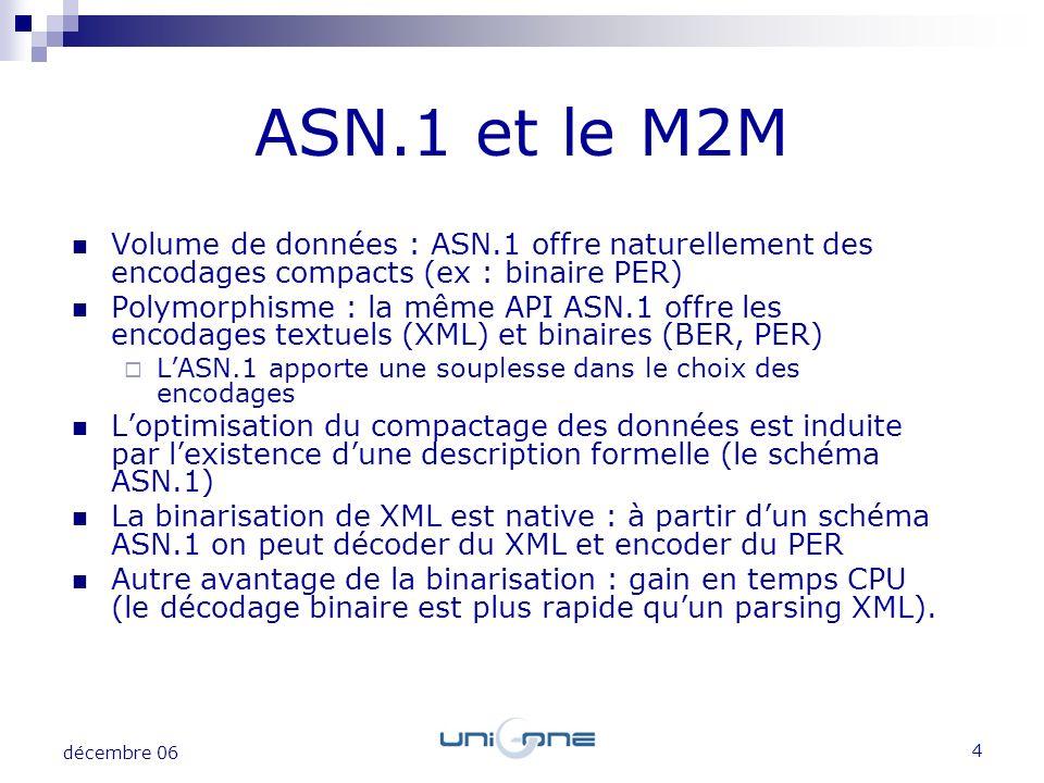ASN.1 et le M2M Volume de données : ASN.1 offre naturellement des encodages compacts (ex : binaire PER)