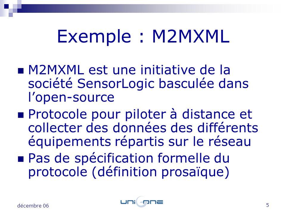 Exemple : M2MXML M2MXML est une initiative de la société SensorLogic basculée dans l'open-source.