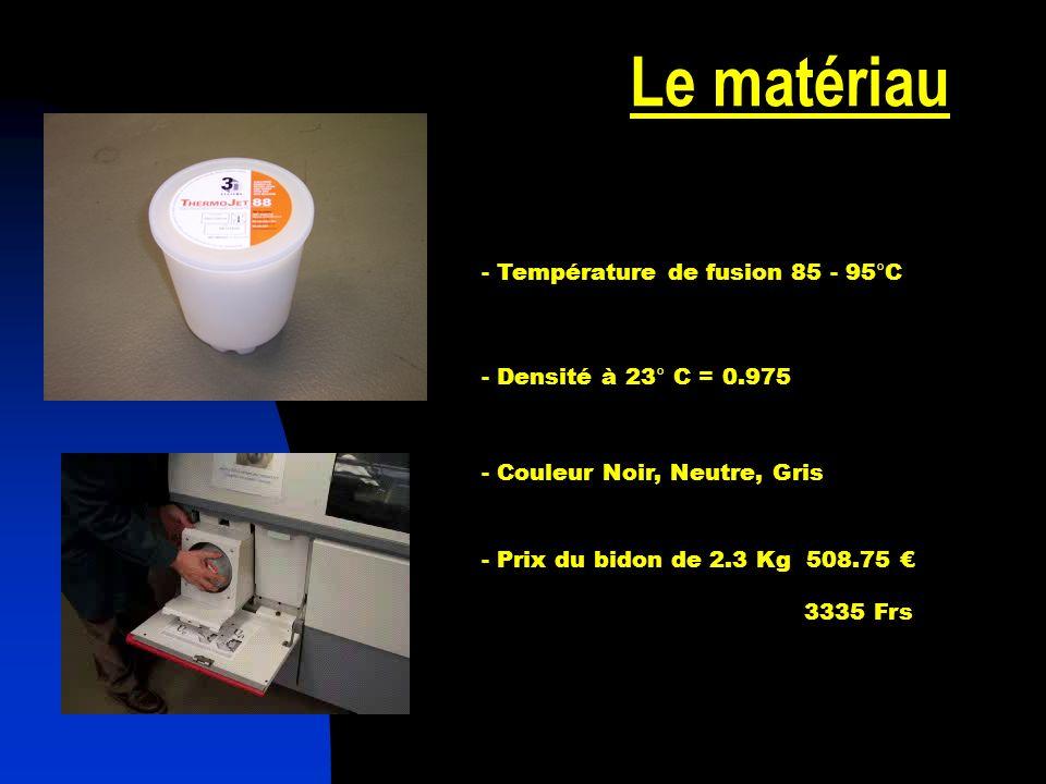 Le matériau - Température de fusion 85 - 95°C