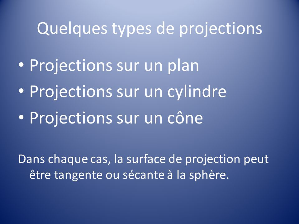 Quelques types de projections
