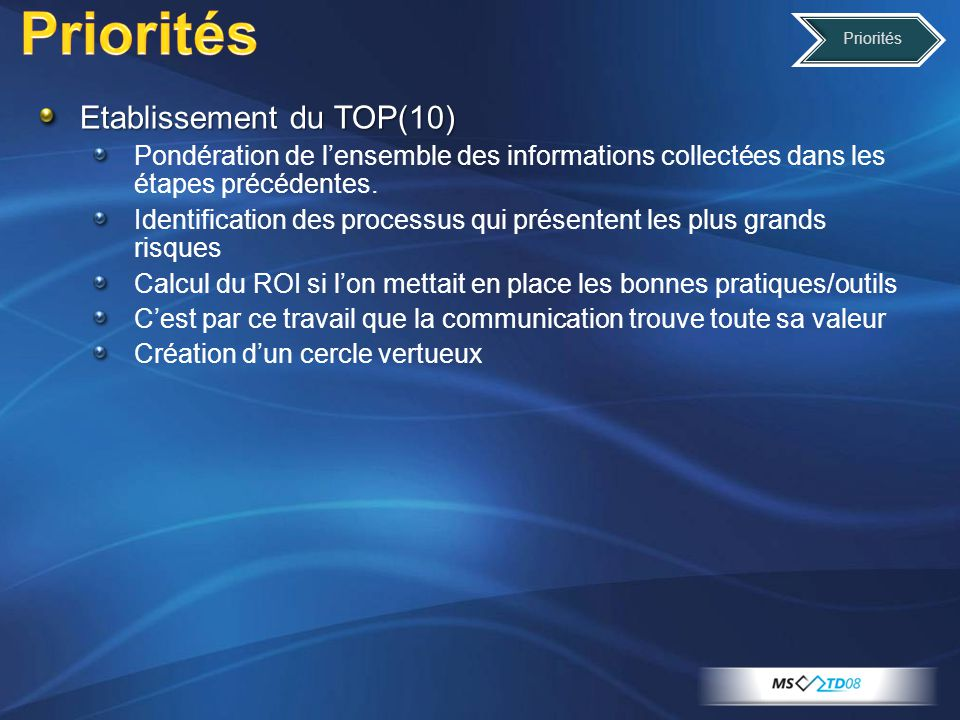 Priorités Etablissement du TOP(10)