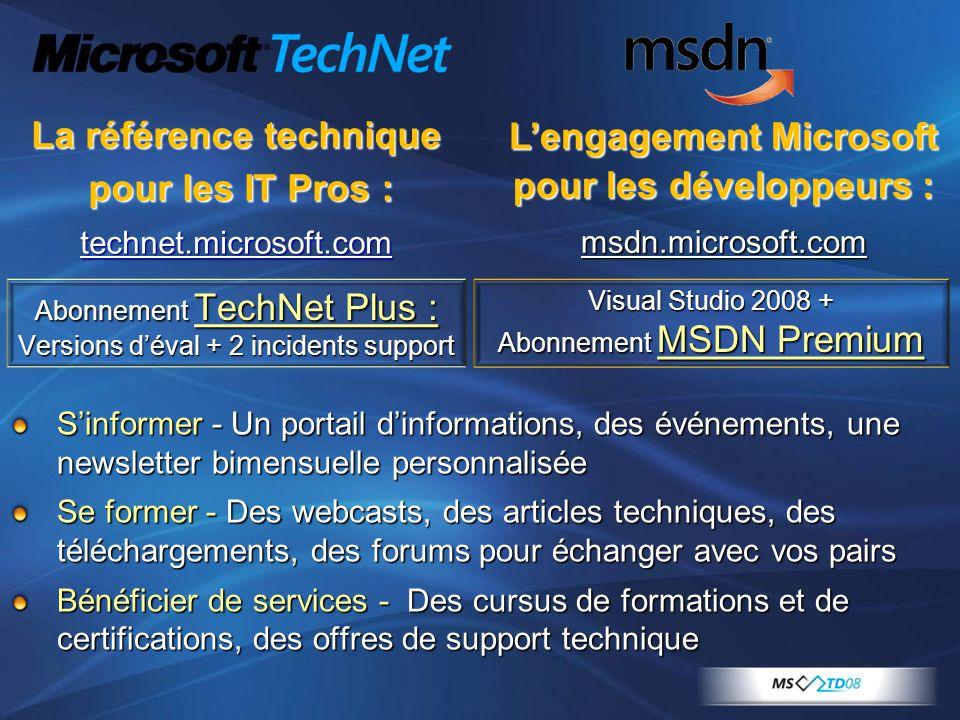 La référence technique L'engagement Microsoft pour les développeurs :