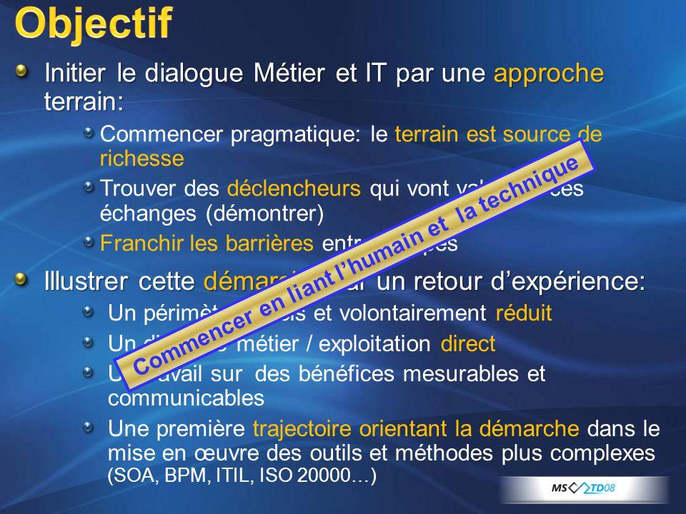Objectif Initier le dialogue Métier et IT par une approche terrain: