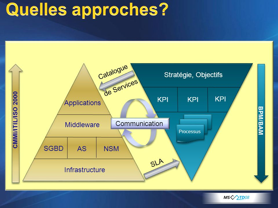 Quelles approches Infrastructure SGBD AS NSM Middleware Applications