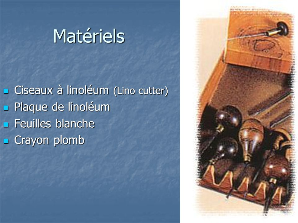 Matériels Ciseaux à linoléum (Lino cutter) Plaque de linoléum