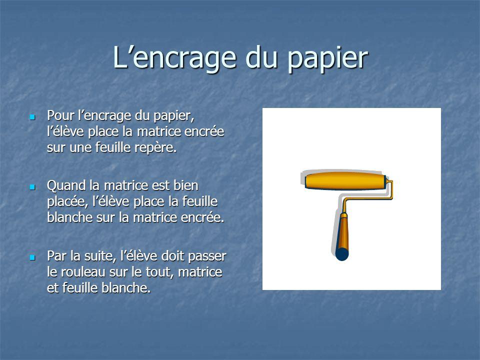 L'encrage du papier Pour l'encrage du papier, l'élève place la matrice encrée sur une feuille repère.