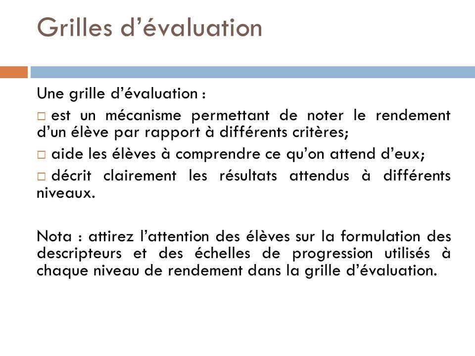 Grilles d'évaluation Une grille d'évaluation :