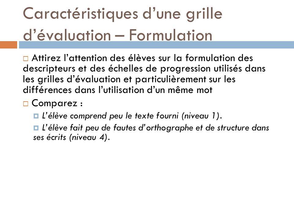 Caractéristiques d'une grille d'évaluation – Formulation