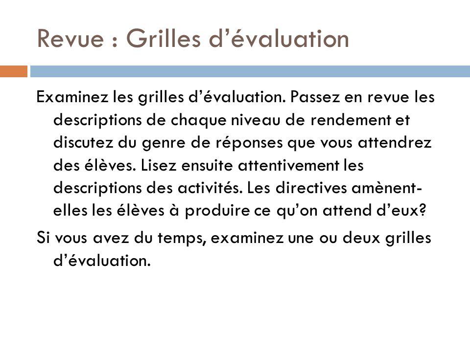 Revue : Grilles d'évaluation