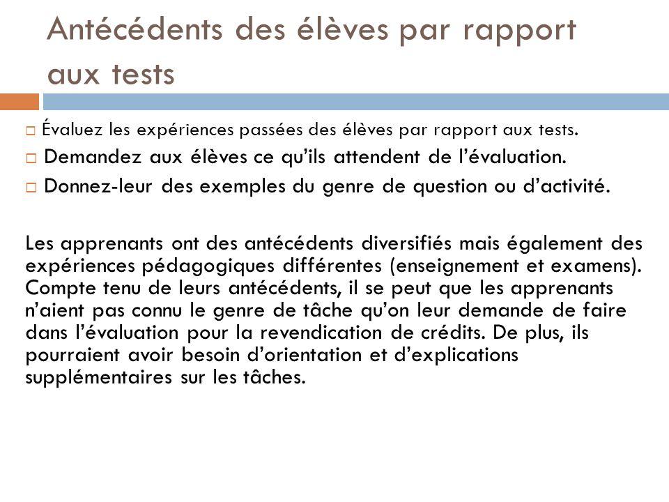 Antécédents des élèves par rapport aux tests