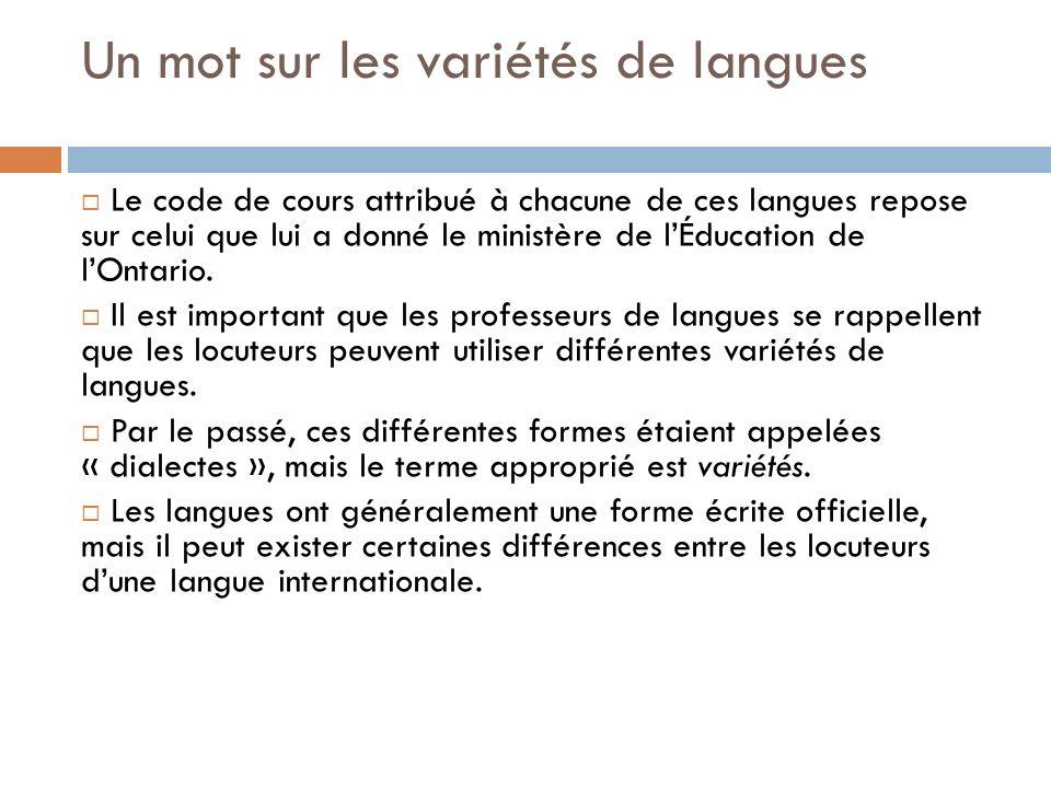 Un mot sur les variétés de langues