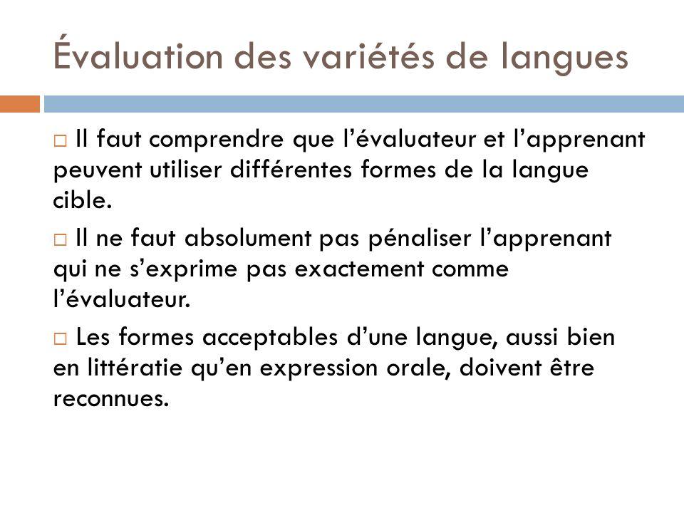 Évaluation des variétés de langues