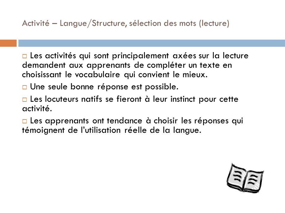 Activité – Langue/Structure, sélection des mots (lecture)