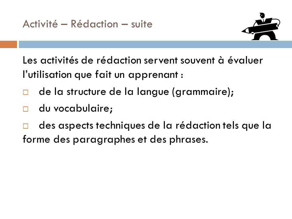 Activité – Rédaction – suite