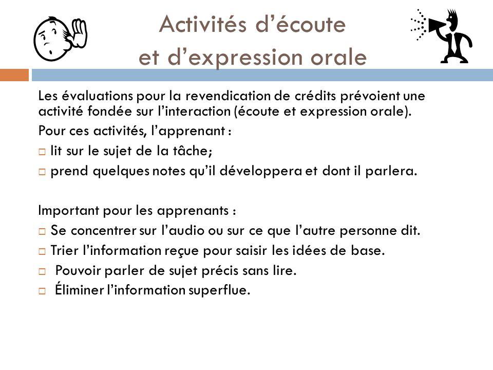 Activités d'écoute et d'expression orale