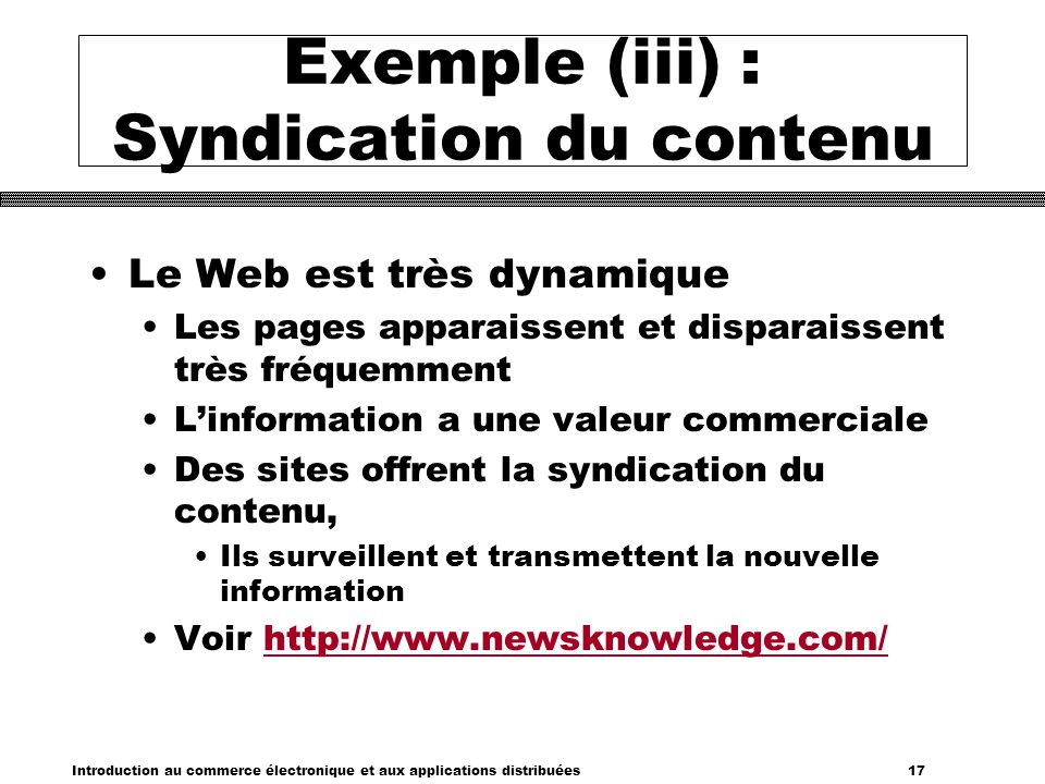Exemple (iii) : Syndication du contenu
