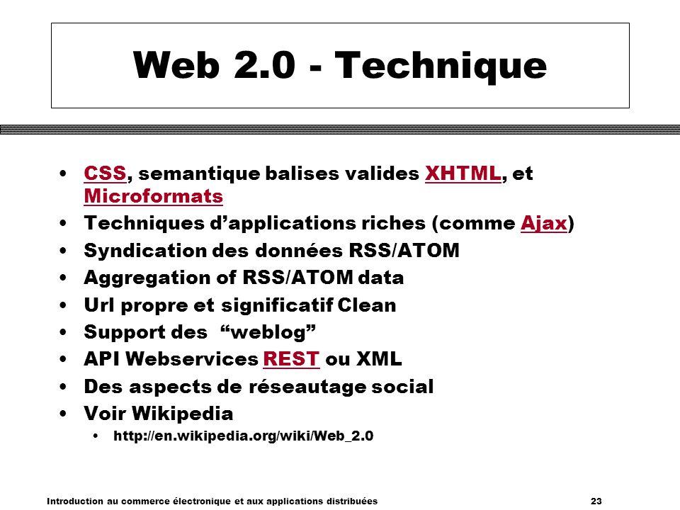 Web 2.0 - Technique CSS, semantique balises valides XHTML, et Microformats. Techniques d'applications riches (comme Ajax)