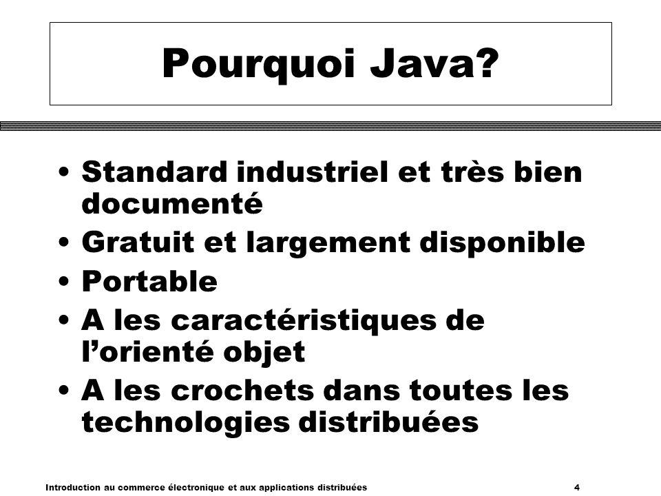 Pourquoi Java Standard industriel et très bien documenté