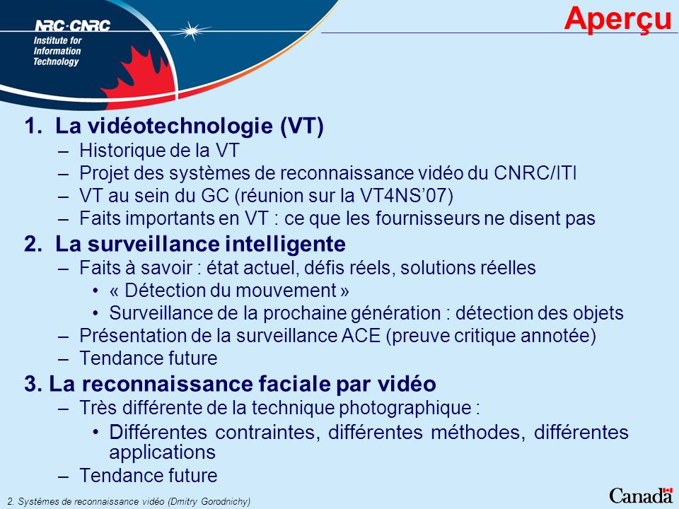 Aperçu 1. La vidéotechnologie (VT) 2. La surveillance intelligente