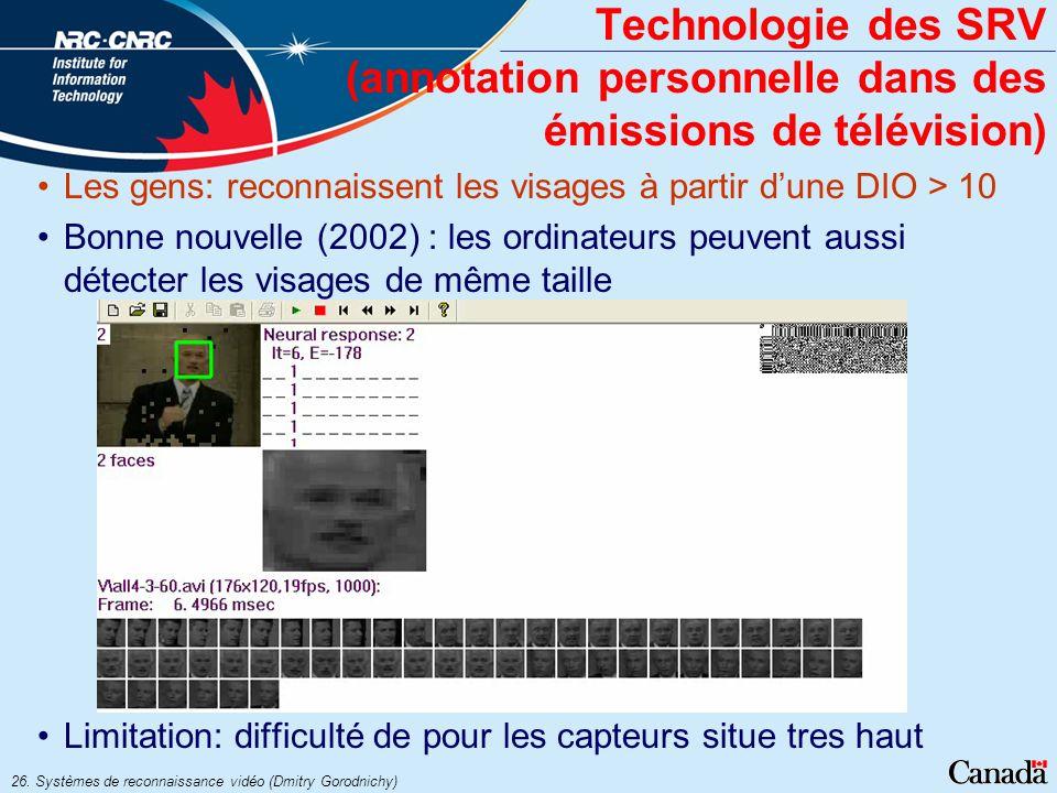 Technologie des SRV (annotation personnelle dans des émissions de télévision)
