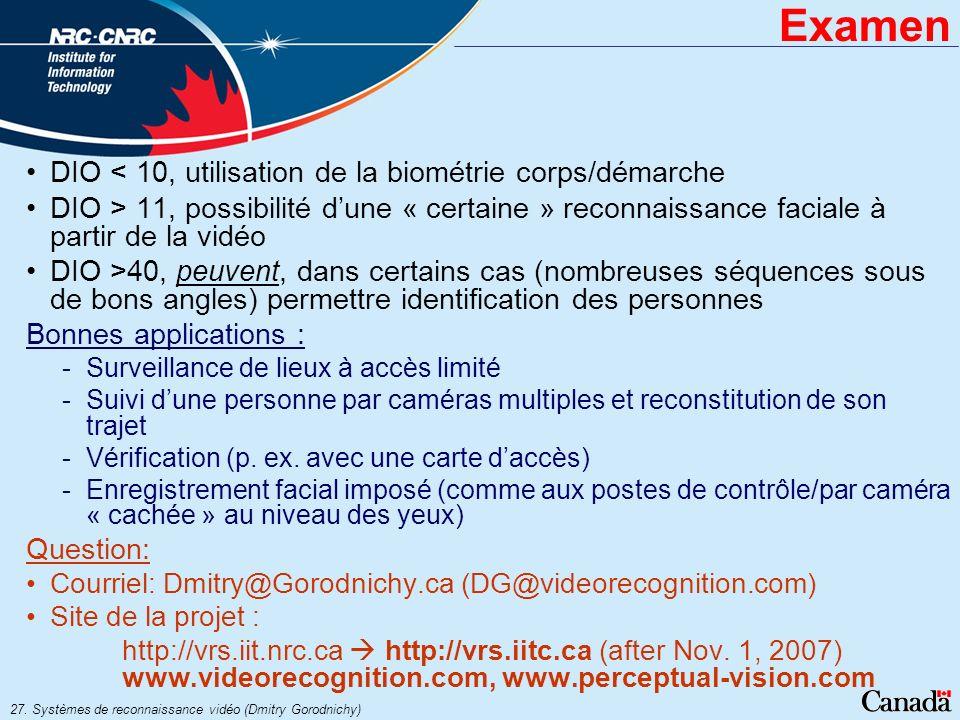 Examen DIO < 10, utilisation de la biométrie corps/démarche