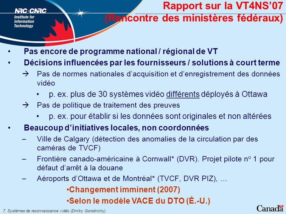 Rapport sur la VT4NS'07 (Rencontre des ministères fédéraux)