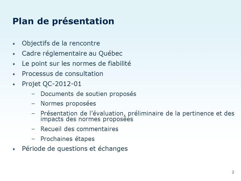Plan de présentation Objectifs de la rencontre