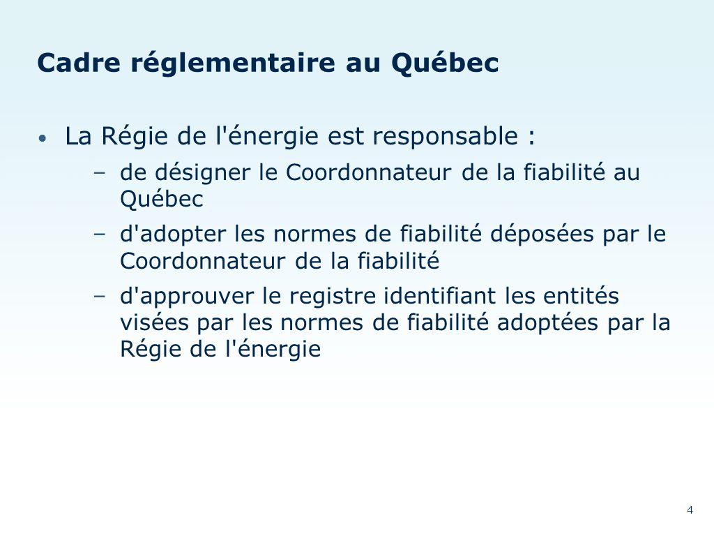 Cadre réglementaire au Québec