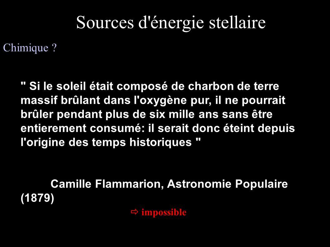 Sources d énergie stellaire (suite)