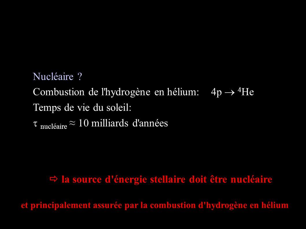 Sources d énergie stellaire (fin)