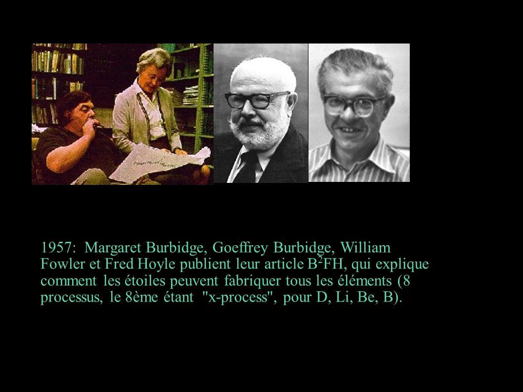 1957: Margaret Burbidge, Goeffrey Burbidge, William Fowler et Fred Hoyle publient leur article B2FH, qui explique comment les étoiles peuvent fabriquer tous les éléments (8 processus, le 8ème étant x-process , pour D, Li, Be, B).