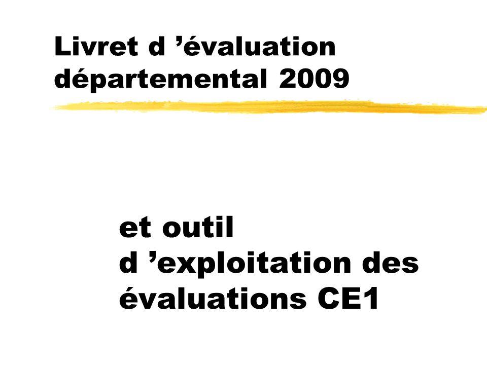 Livret d 'évaluation départemental 2009