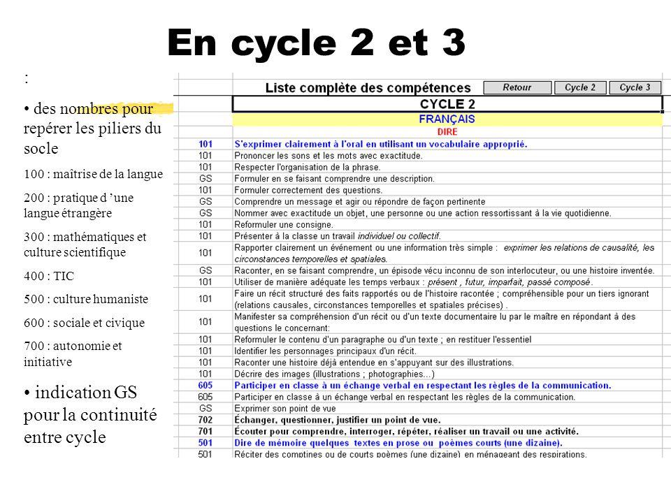 En cycle 2 et 3 : indication GS pour la continuité entre cycle