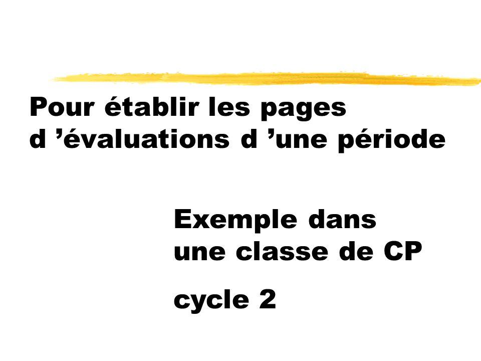 Pour établir les pages d 'évaluations d 'une période