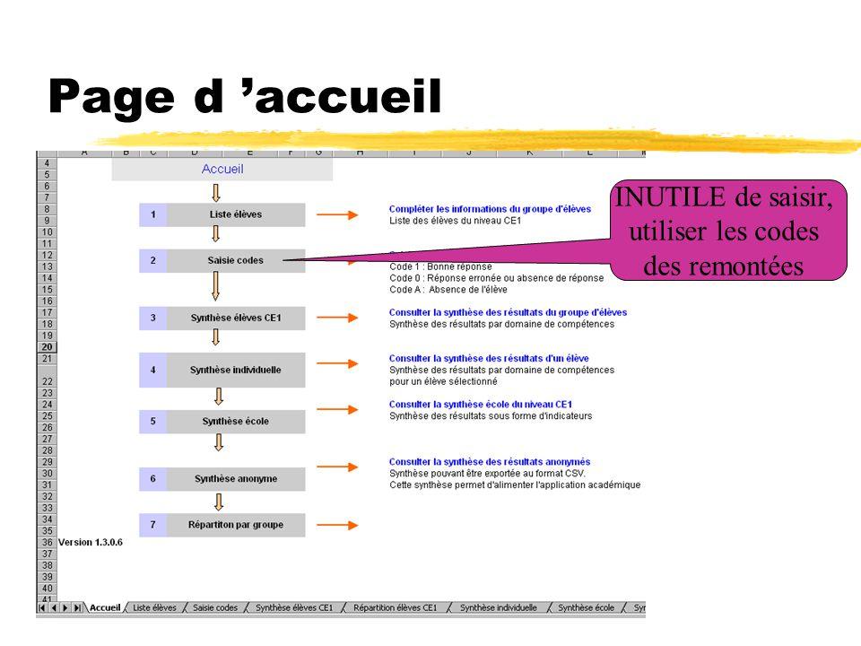 Page d 'accueil INUTILE de saisir, utiliser les codes des remontées
